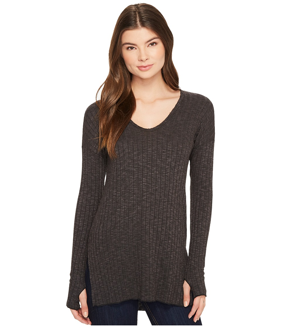 Michael Stars Jasper Poor Boy Rib V-Neck Long Sleeve Tunic with Slits (Galvanized) Women