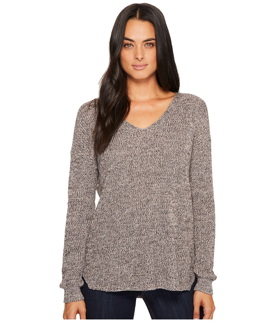 Michael Stars Cotton Knit Long Sleeve V-Neck Pullover (Marl) Women