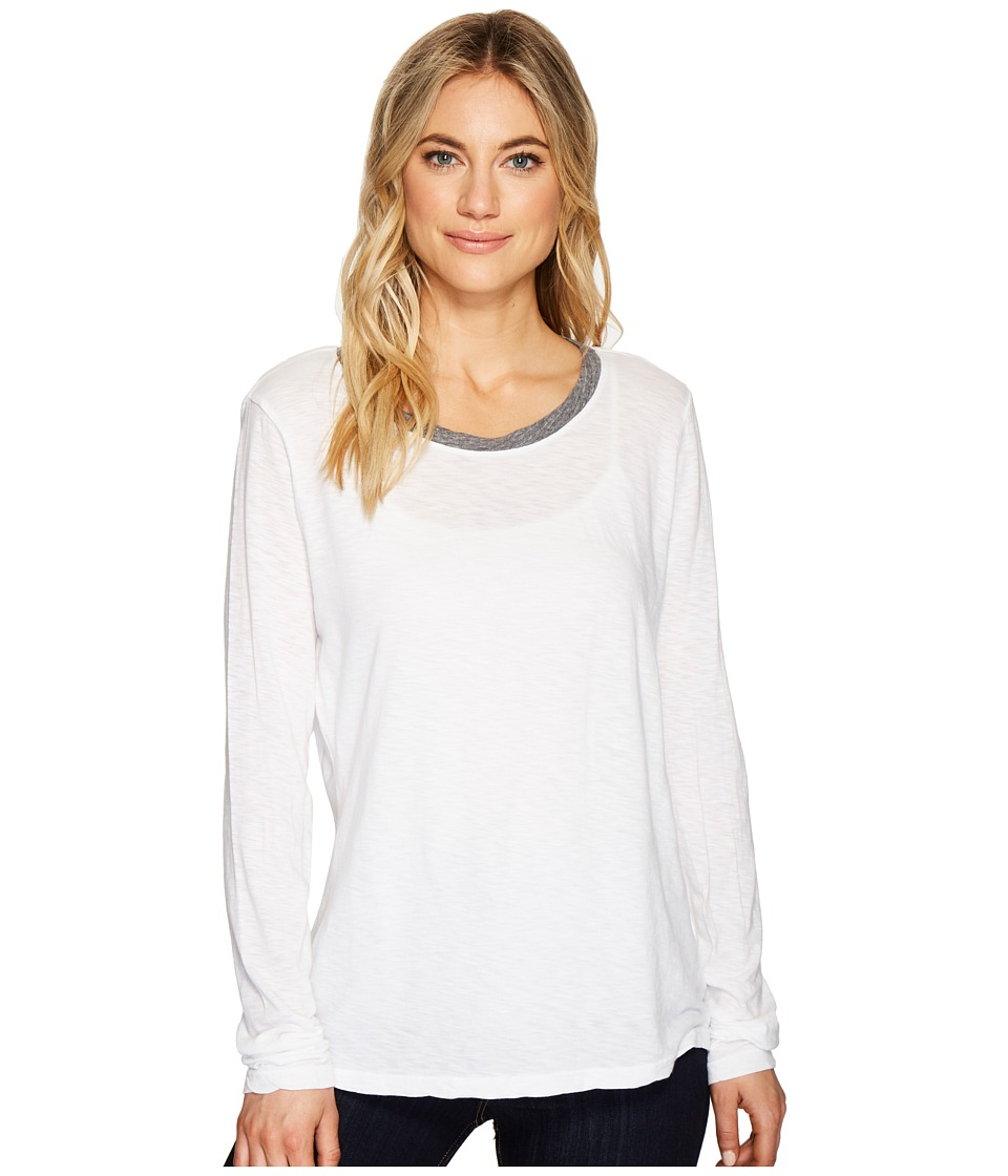 Michael Stars Cotton Supima Long Sleeve Crew Neck Ringer Tee (White) Women