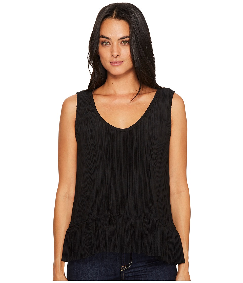 Michael Stars Accordian Scoop Neck Flounce Tank Top (Black) Women
