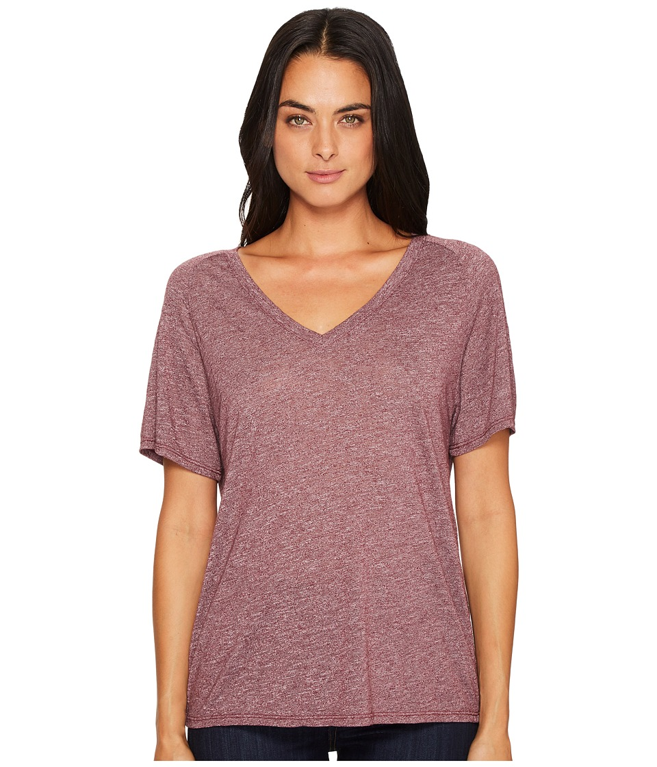 Michael Stars Brooklyn Jersey V-Neck Tee with Raglan Sleeve (Garnet) Women