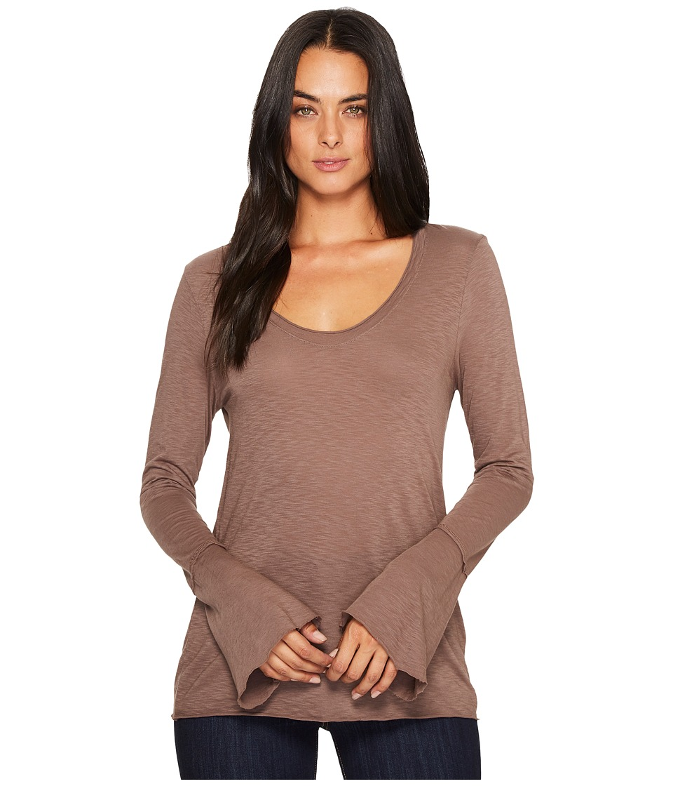 Michael Stars Cotton Supima Soft V-Neck with Bell Sleeve (Quicksand) Women