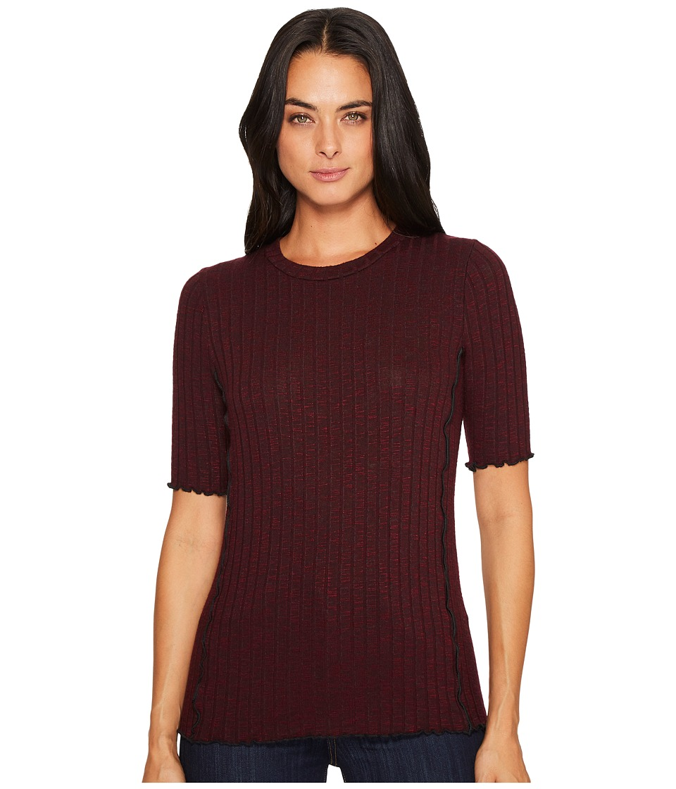 Michael Stars Jasper Poor Boy Rib Round Neck Elbow Sleeve Lettuce Tee (Garnet) Women