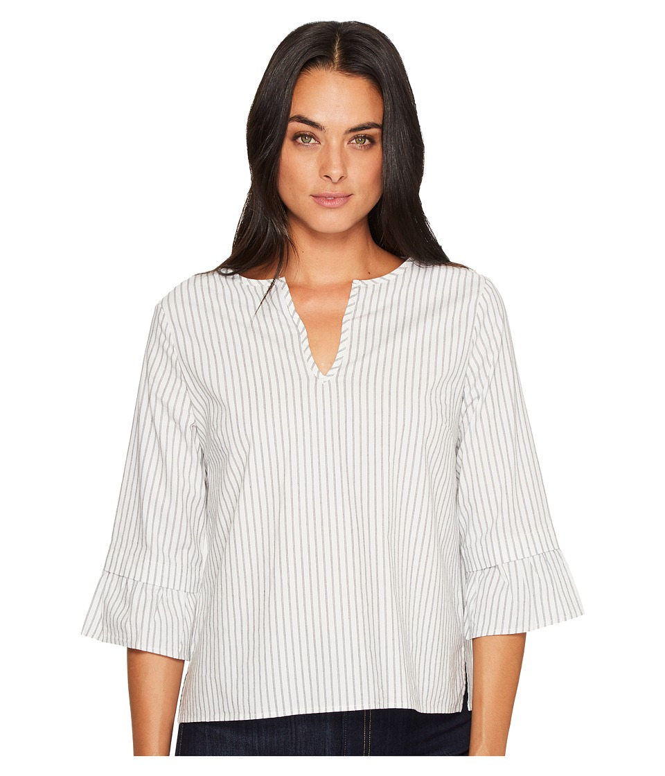 Michael Stars Fletcher Stripe V-Neck Ruffle Sleeve Top (Chalk/Black) Women