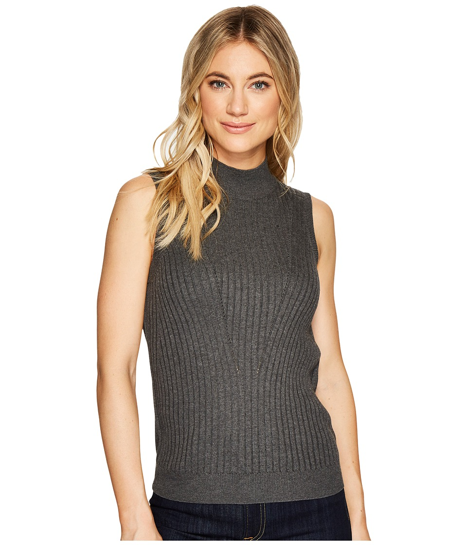Michael Stars Luxe Cotton Mock Neck Shell (Charcoal) Women