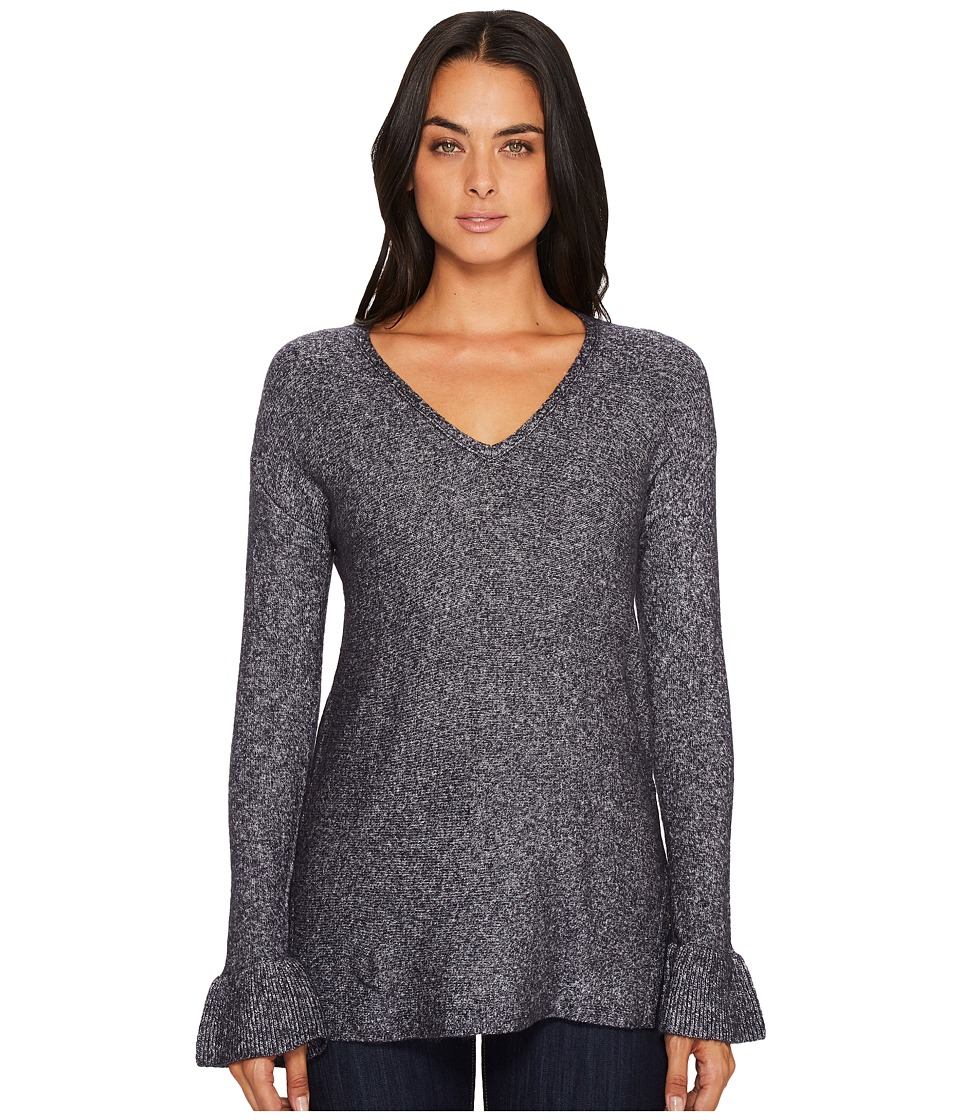 Michael Stars Soft V-Neck Pullover with Ruffle Sleeve (Nocturnal) Women
