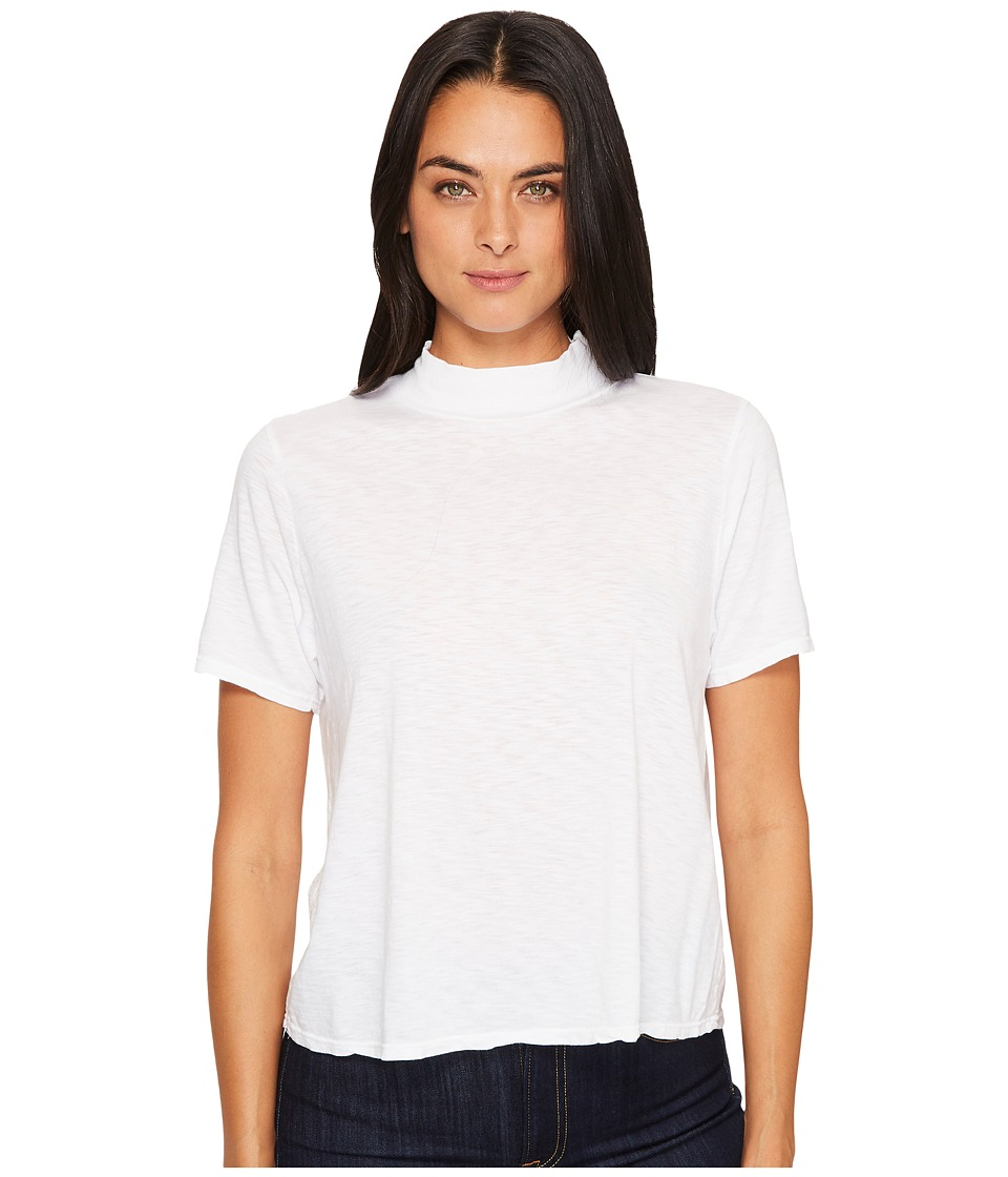 Michael Stars Cotton Supima Mock Neck Crop Tee Shirt (White) Women