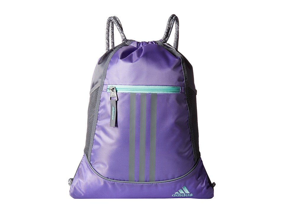 adidas - Alliance II Sackpack (Light Flash Purple/Grey/Energy Aqua) Bags
