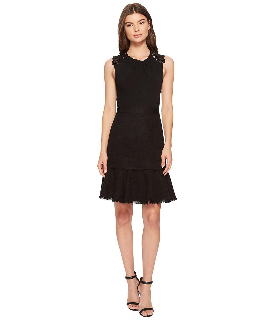 Rebecca Taylor Sleeveless Tweed Lace Dress (Black) Women