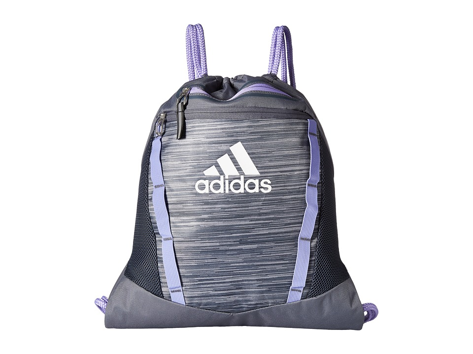 adidas - Rumble II Sackpack (Onix Looper/Light Flash Purple/White) Bags
