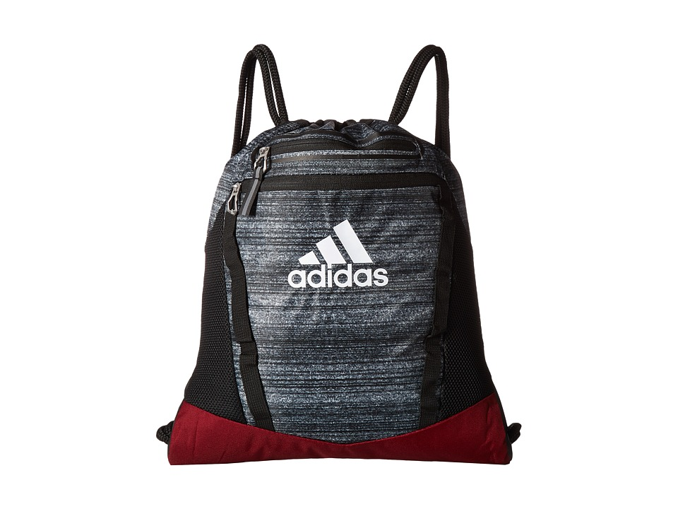 adidas - Rumble II Sackpack (Noise Black/Collegiate Burgundy/Black/White) Bags