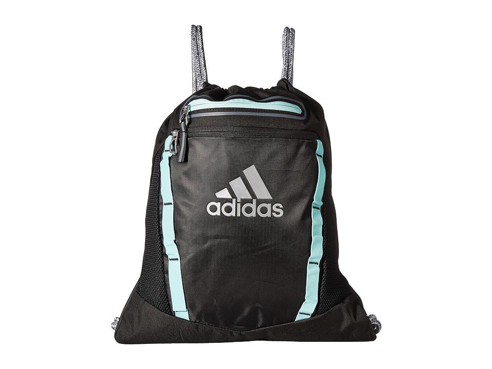 adidas - Rumble II Sackpack (Black/Energy Aqua/Reflective Silver) Bags
