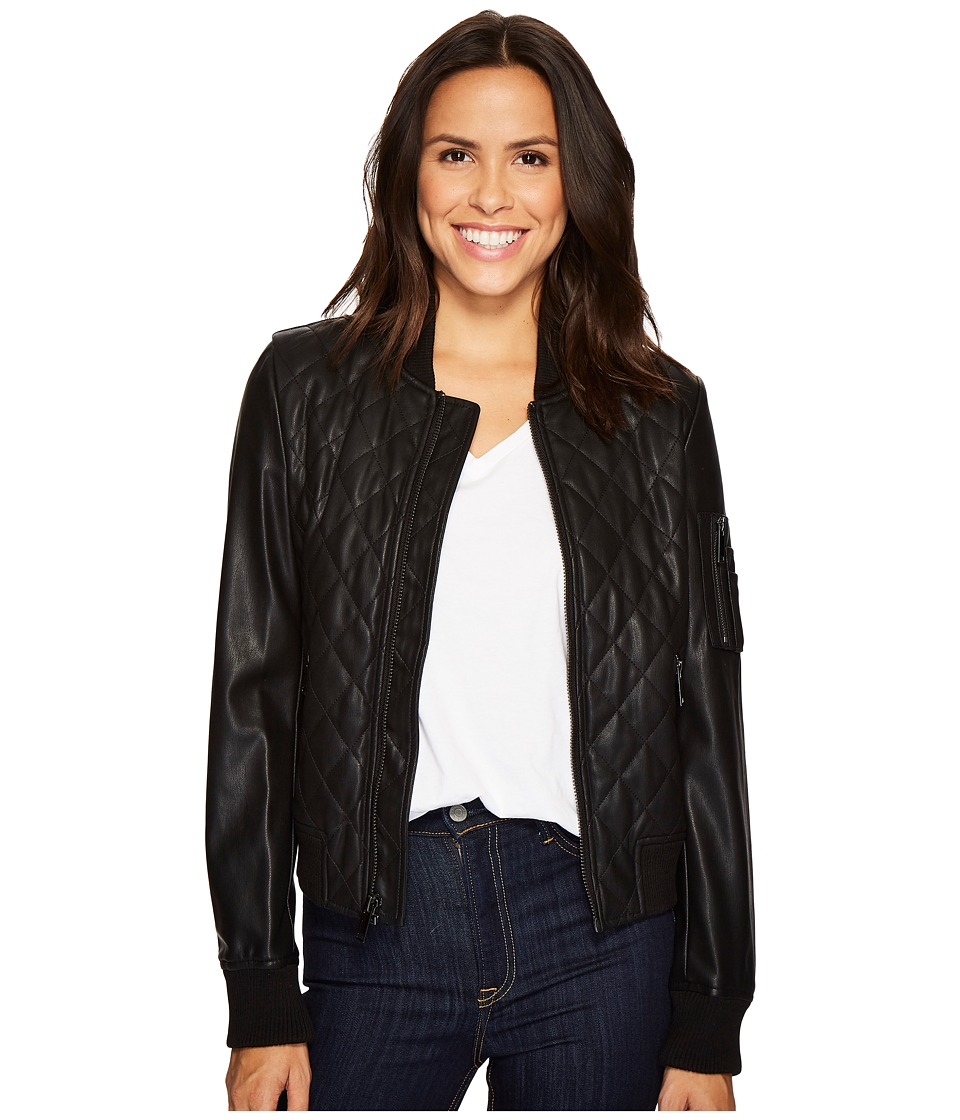 French Connection - Pleather Diamond Quilt Bomber (Black) Women's Coat
