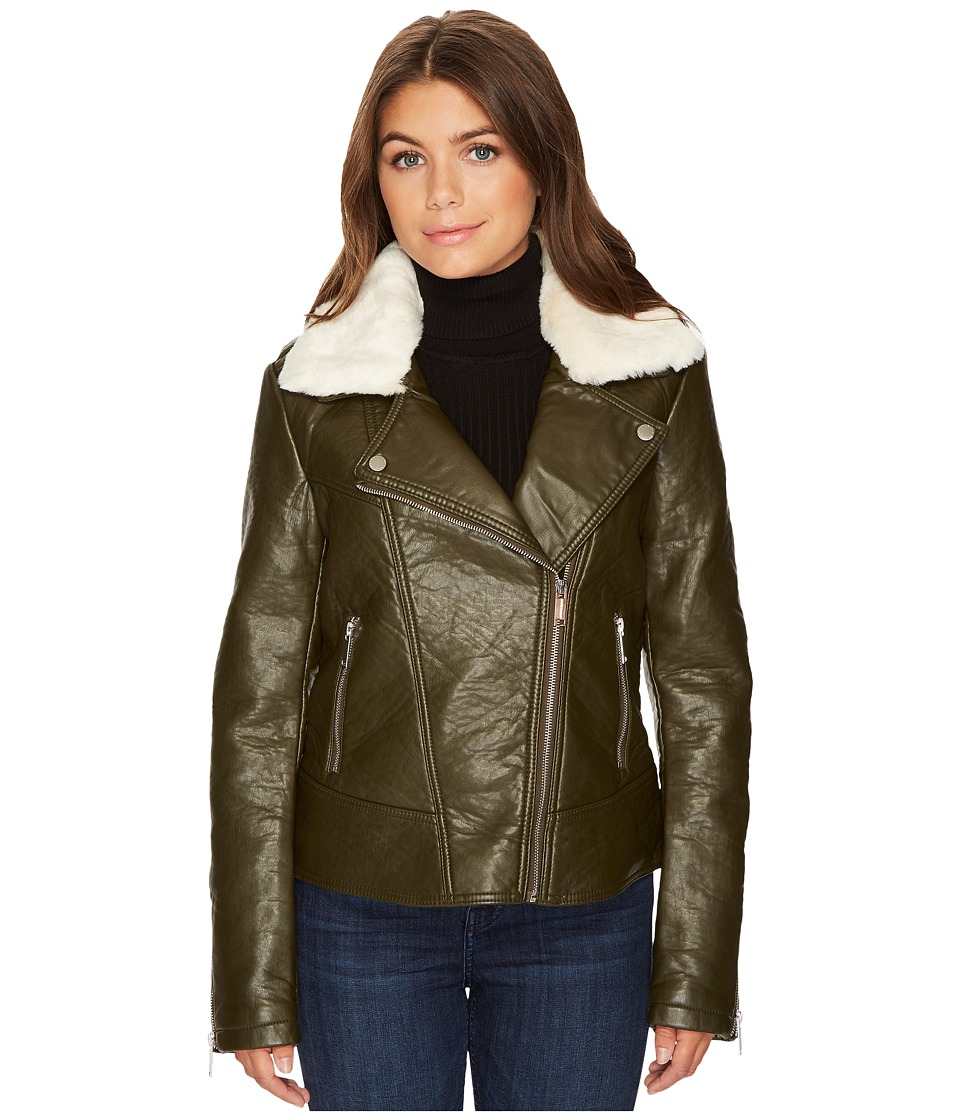 French Connection - Detachable Faux Fur Collar Pleather (Loden) Women's Coat