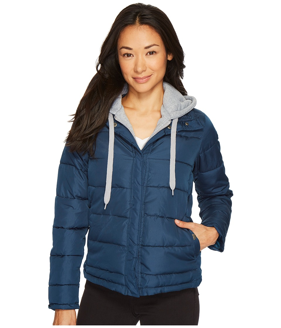 U.S. POLO ASSN. - Fleece Hooded Puffer (Reflecting Pond) Women's Coat