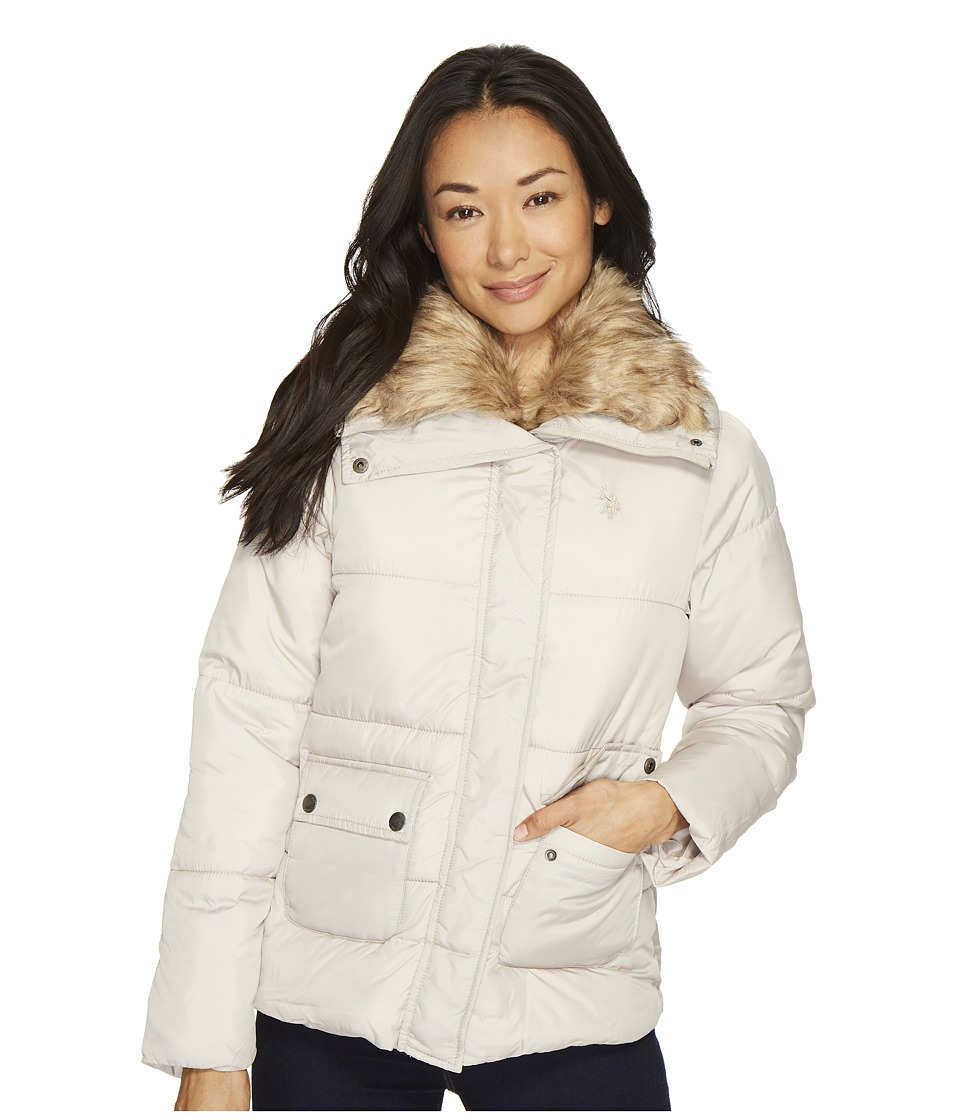 U.S. POLO ASSN. - Fur Collar Puffer (Fog) Women's Coat