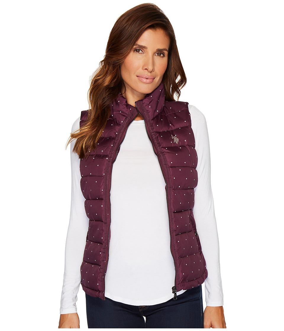 U.S. POLO ASSN. - Dot Printed Quilted Vest (Berry Park) Women's Vest
