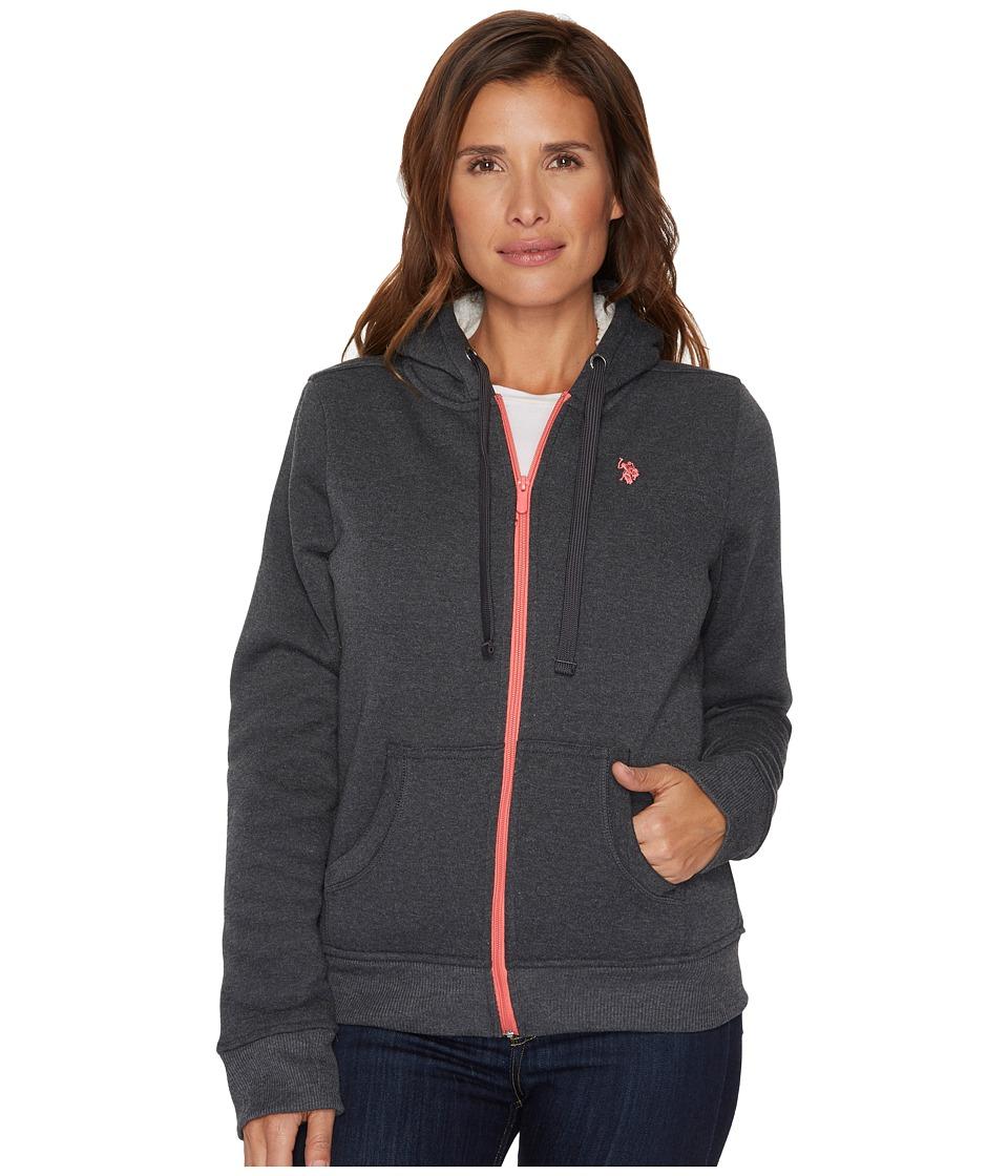 U.S. POLO ASSN. - Fleece Hoodie (Dark Heather Grey) Women's Sweatshirt