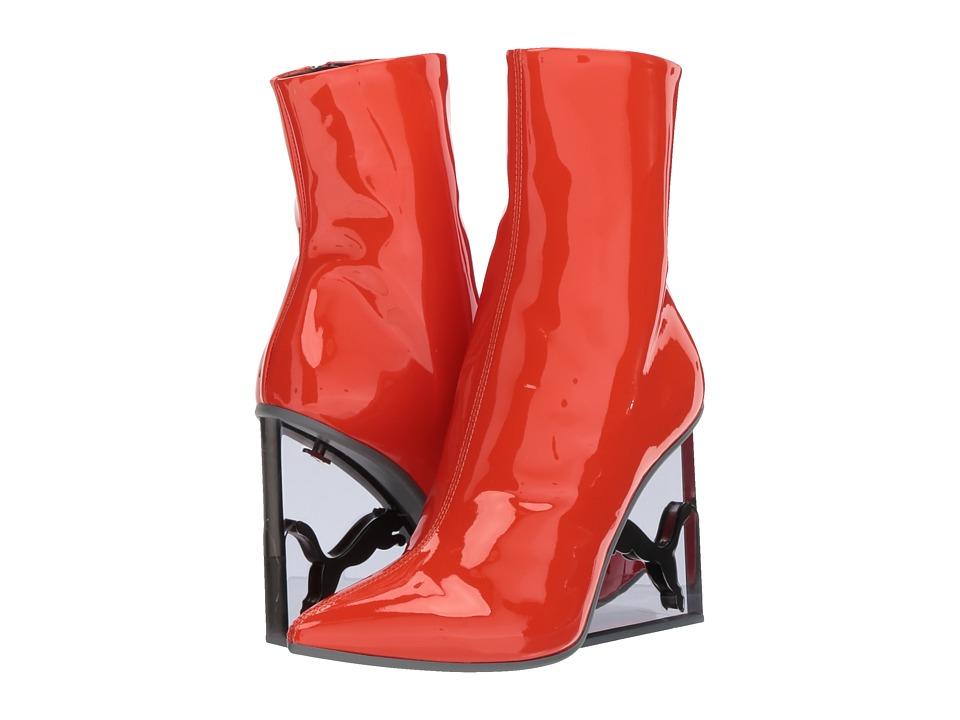 PUMA Puma x Fenty by Rihanna Cat Patent Leather Wedge Boot (Flame/Puma Black) Women