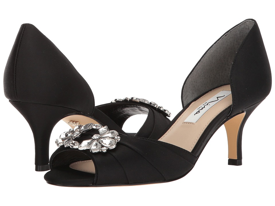 Nina Charisa (Black Luster Satin) High Heels