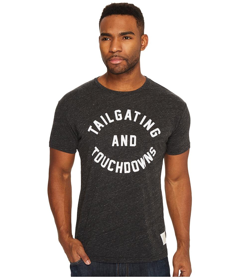 The Original Retro Brand - Tailgating Touchdown Short Sleeve Tri-Blend Tee (Streaky Black) Men's T Shirt