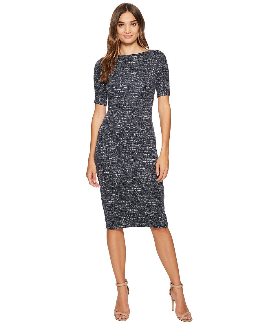 Maggy London - Brushed Abstract Jacquard Sheath (Slate) Women's Dress