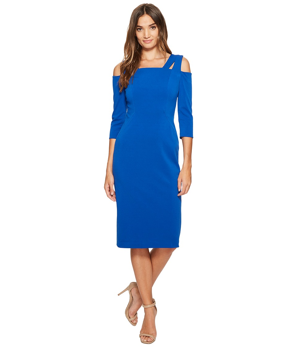 Maggy London - Drop Square Neck Midi Sheath (Cobalt) Women's Dress
