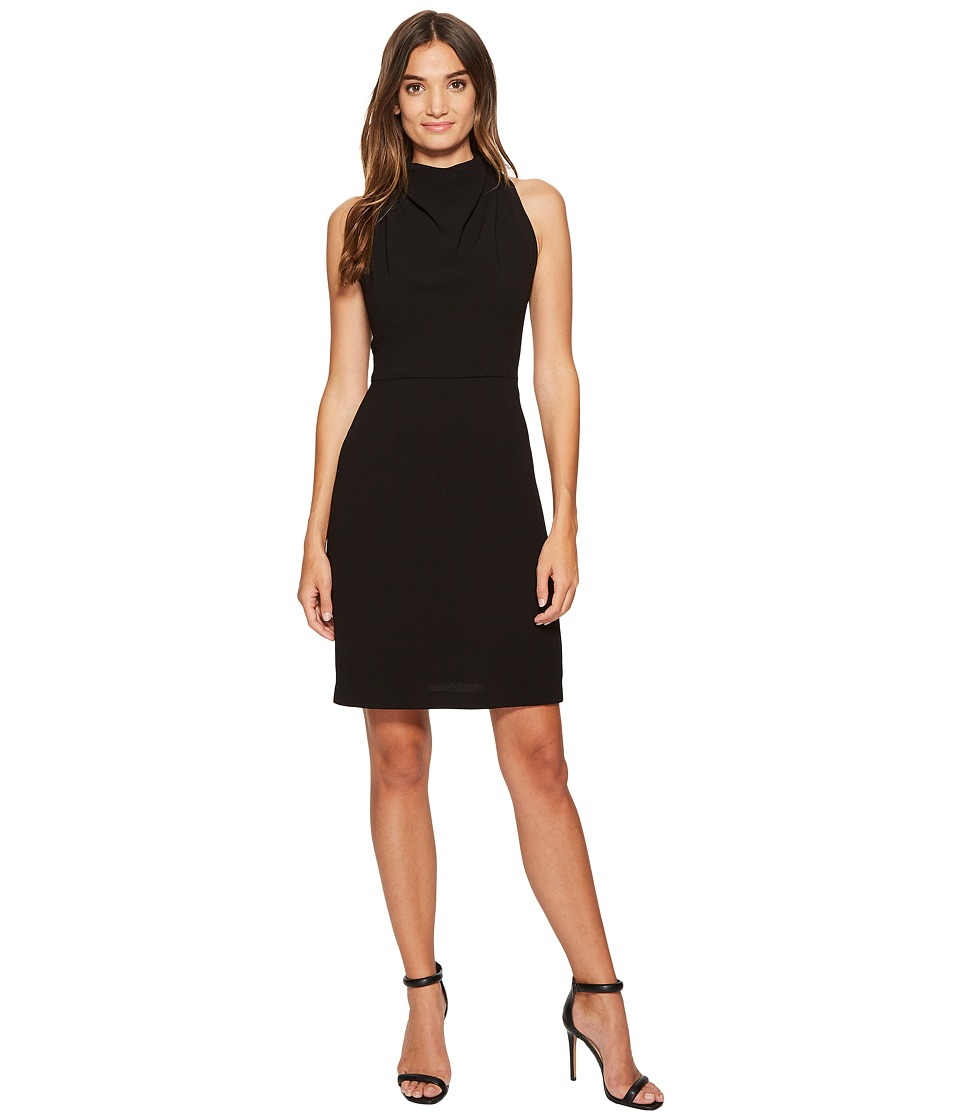 Maggy London 30s Crepe Fit Flare with Lace Back Detail Black Dress