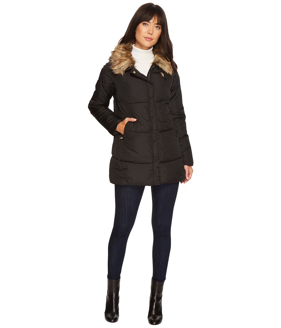 U.S. POLO ASSN. - Faux Fur Collar Parka (Black) Women's Coat