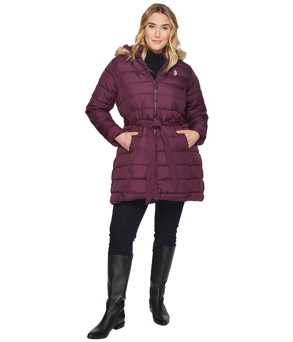 U.S. POLO ASSN. - Plus Size Long Puffer Coat (Merlot Wine) Women's Coat