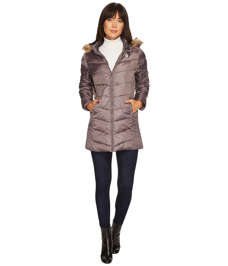 U.S. POLO ASSN. - Faux Fur Trimmed Parka Jacket (Gray) Women's Coat