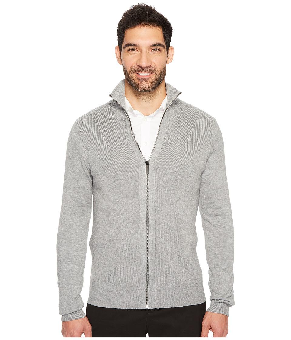 Perry Ellis Solid Rib Full Zip Sweater (Smoke Heather) Men