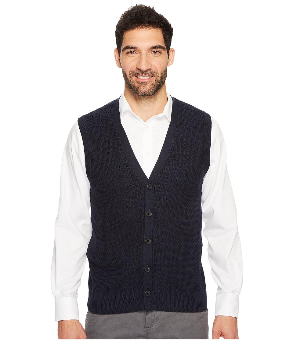 Perry Ellis Solid Textured Button Front Sweater Vest (Dark Sapphire) Men