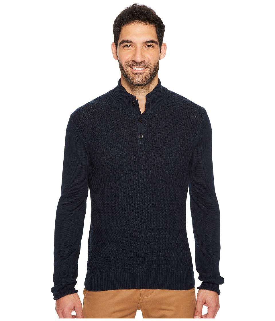 Perry Ellis Solid Textured Mock Neck Sweater (Dark Sapphire) Men