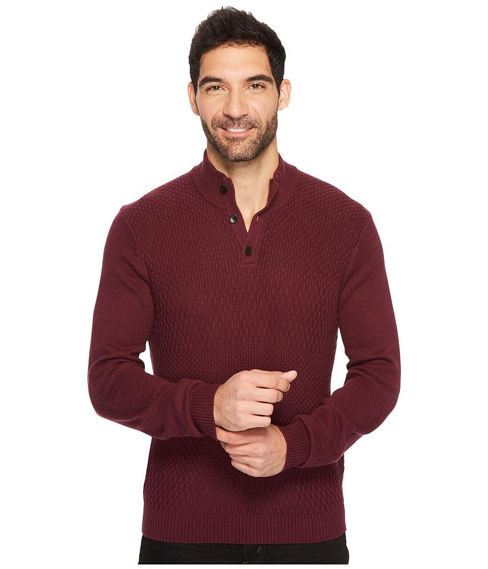 Perry Ellis Solid Textured Mock Neck Sweater (Port) Men