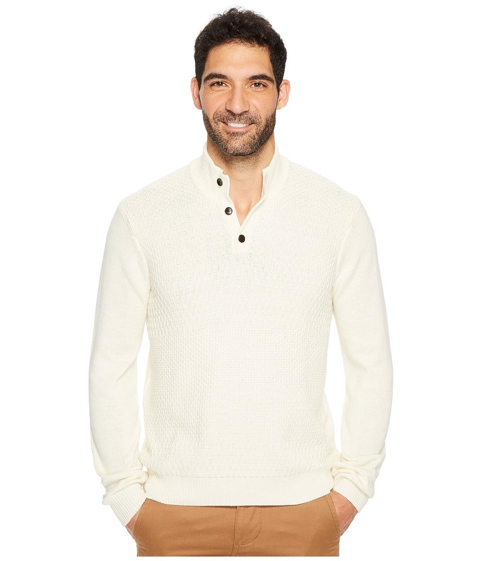 Perry Ellis Solid Textured Mock Neck Sweater (Cream) Men