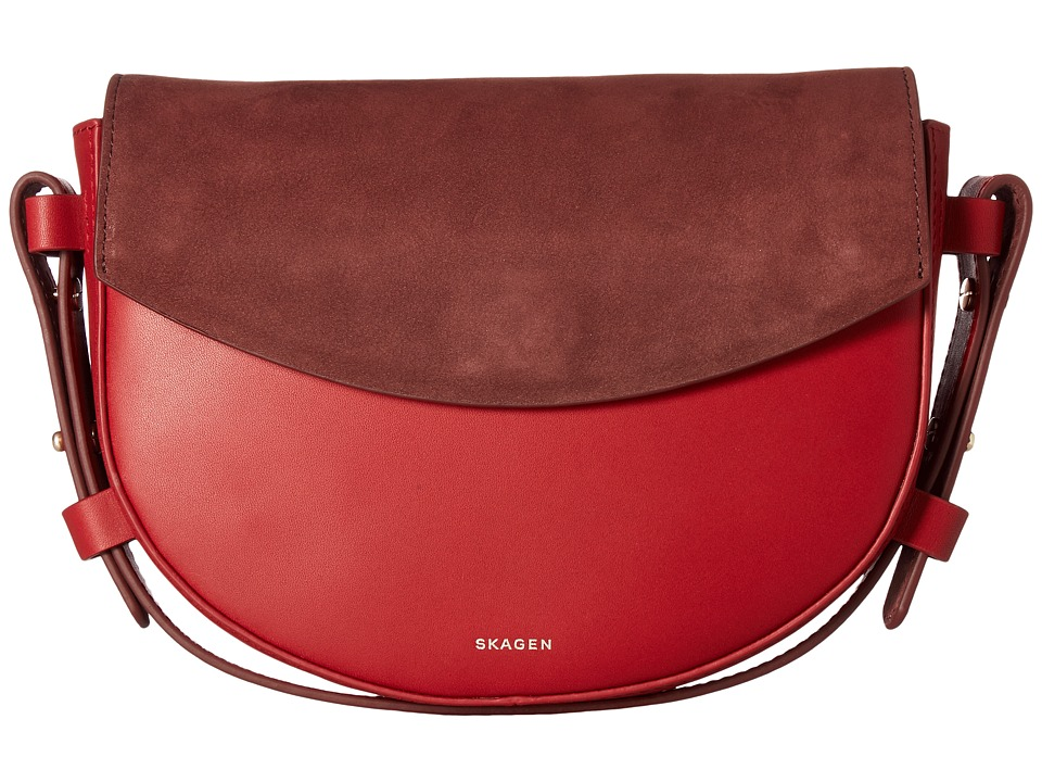 Skagen Lobelle Saddle Clutch (Garnet) Clutch Handbags