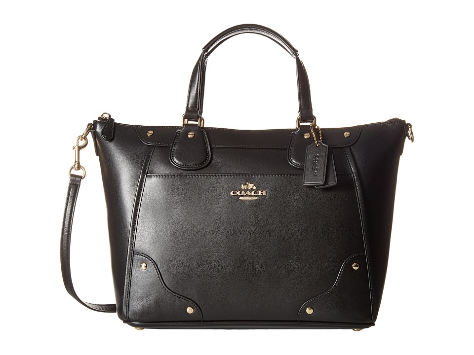 COACH - Grain Leather Mickie Satchel (IM/Black) Satchel Handbags