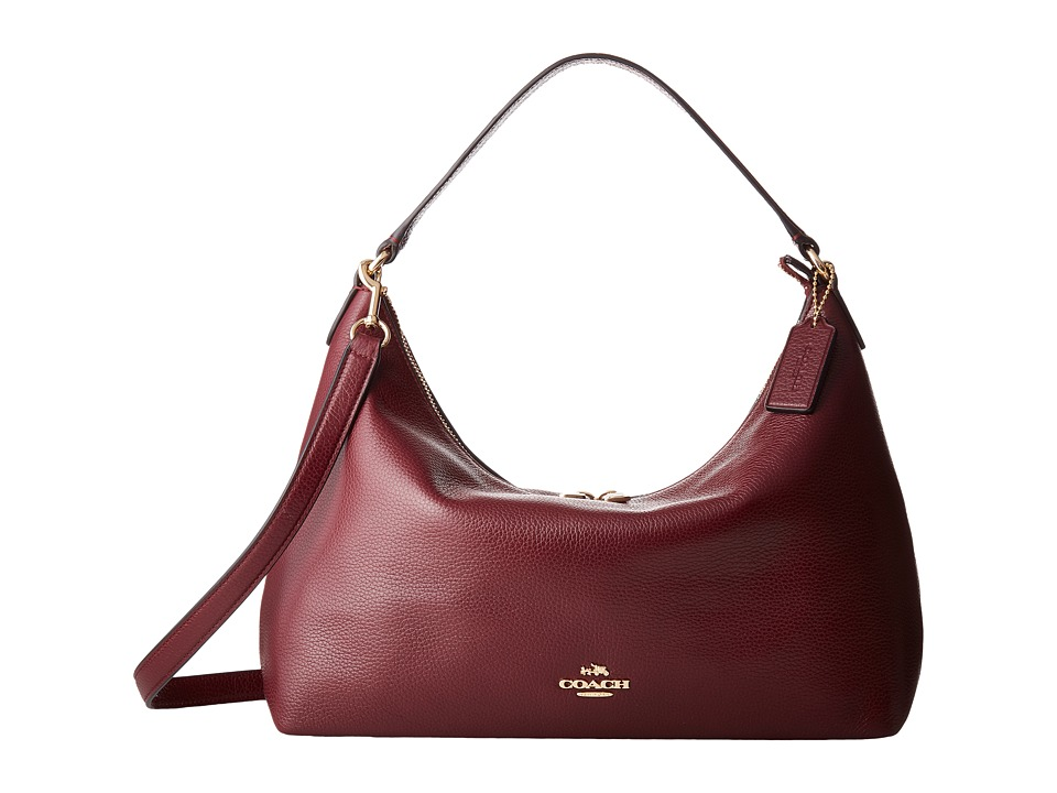 COACH - Pebbled Leather East/West Celeste Convertible Hobo (IM/Burgundy) Hobo Handbags