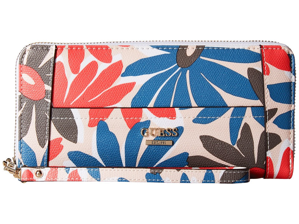 GUESS Huntley SLG Large Zip Around (Floral Multi) Clutch Handbags