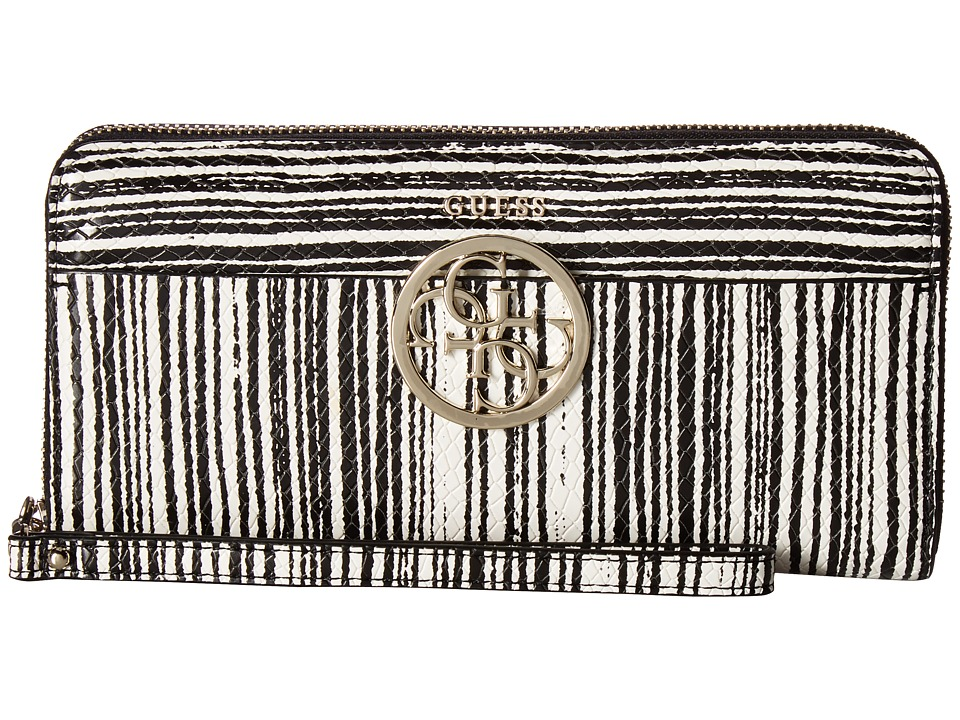 GUESS - Kamryn SLG Large Zip Around (Black Stripe) Handbags
