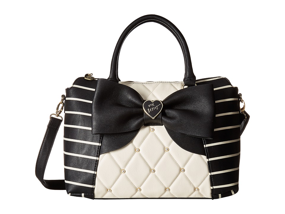 Betsey Johnson - E/W Winged Satchel (Cream/Black) Satchel Handbags