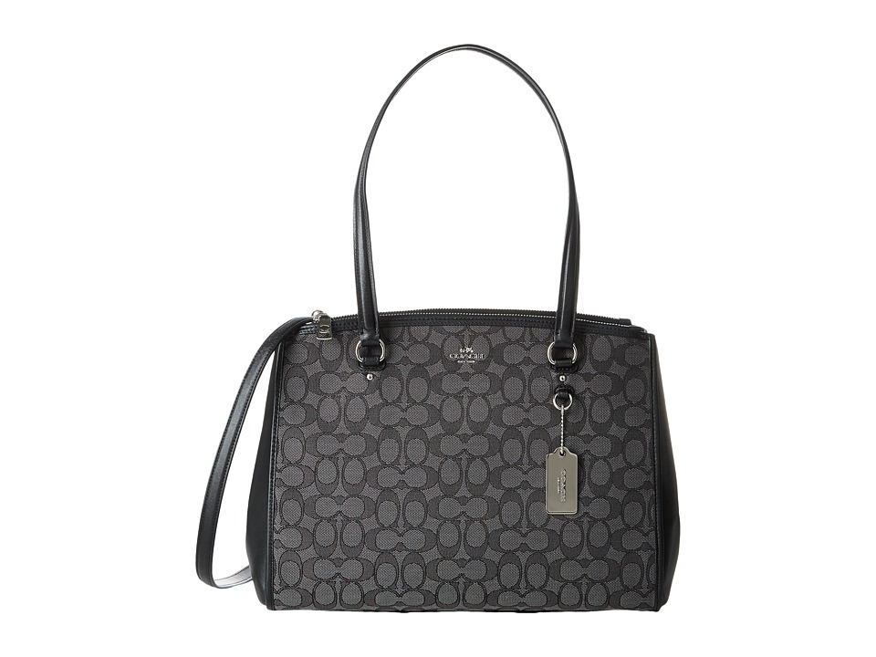 COACH - Signature Stanton Carryall (SV/Black Smoke/Black) Handbags