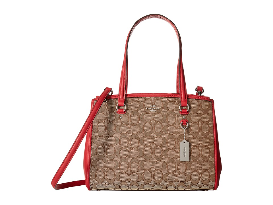 COACH - Signature Stanton 29 Carryall (SV/Khaki/True Red) Handbags