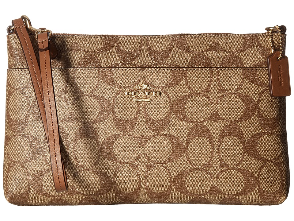 COACH - Signature PVC Pop Pouch (IM/Khaki/Saddle) Travel Pouch
