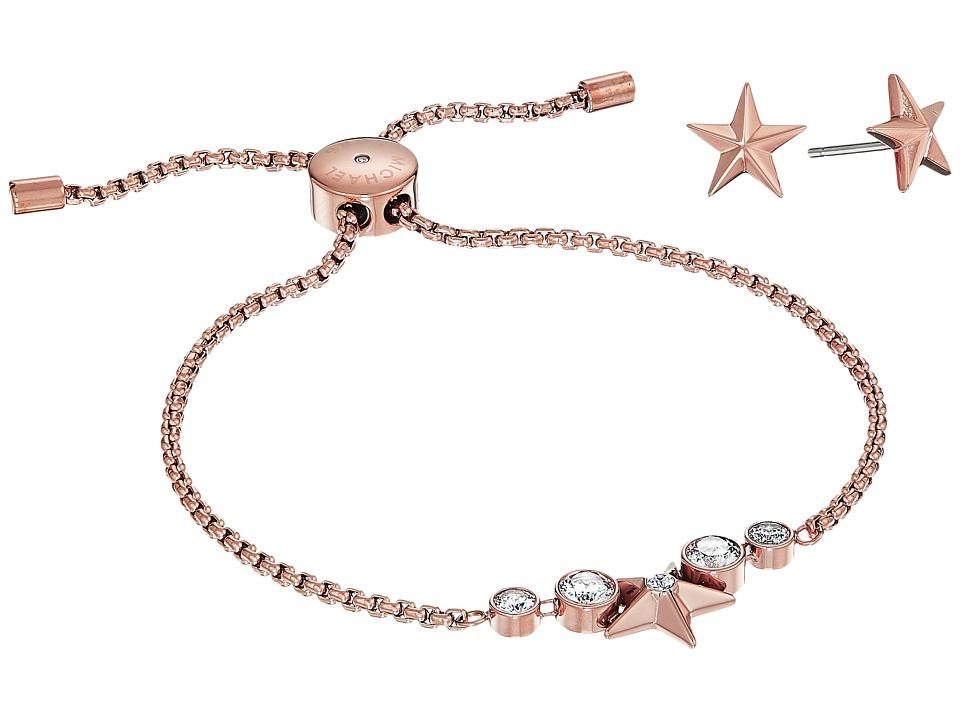 Michael Kors - Starburst Slider Bracelet w/ Matching Earrings Set (Rose Gold) Jewelry Sets