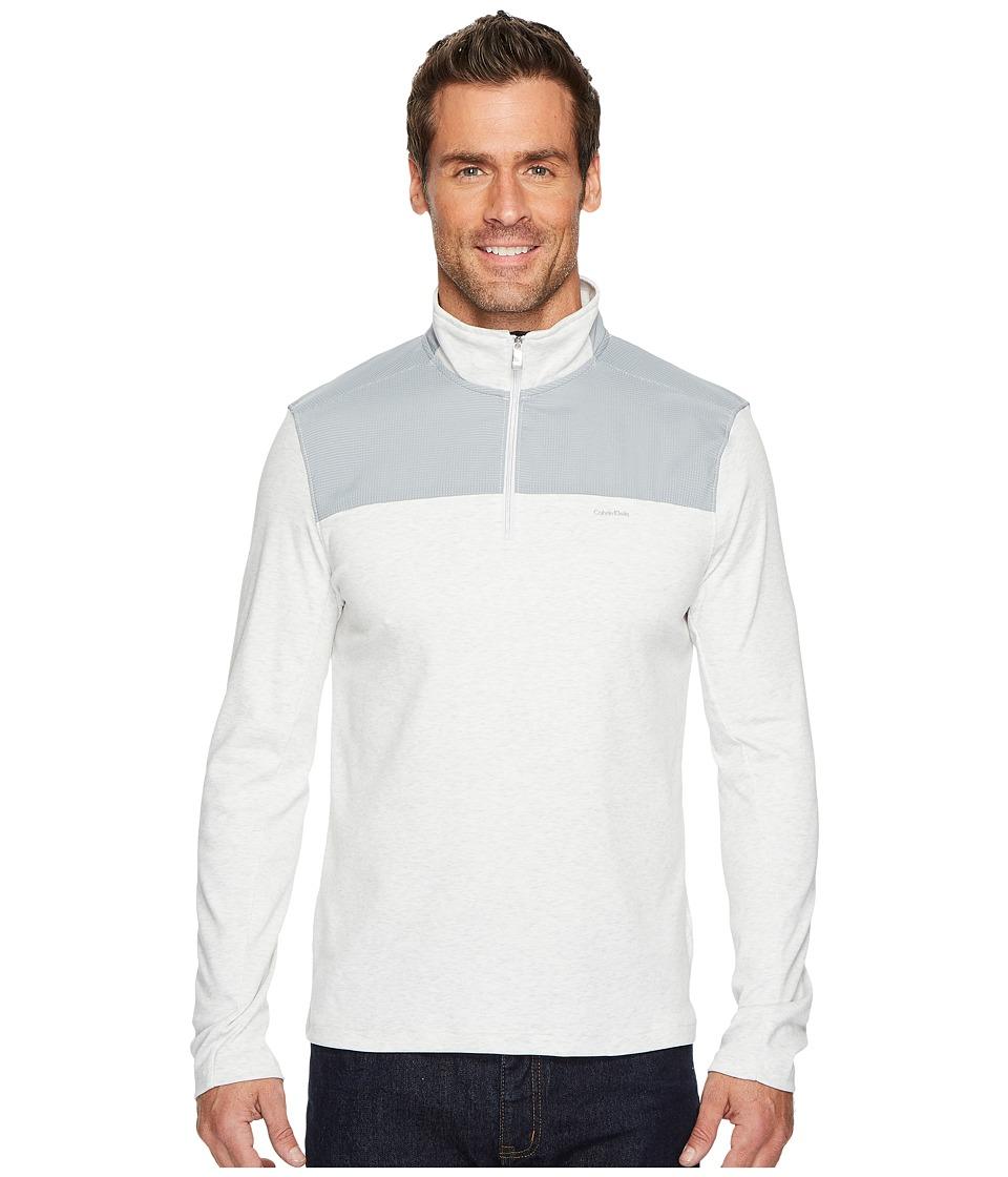 Calvin Klein Mixed Media 1/4 Zip Pullover (Soft Grey Heather) Men