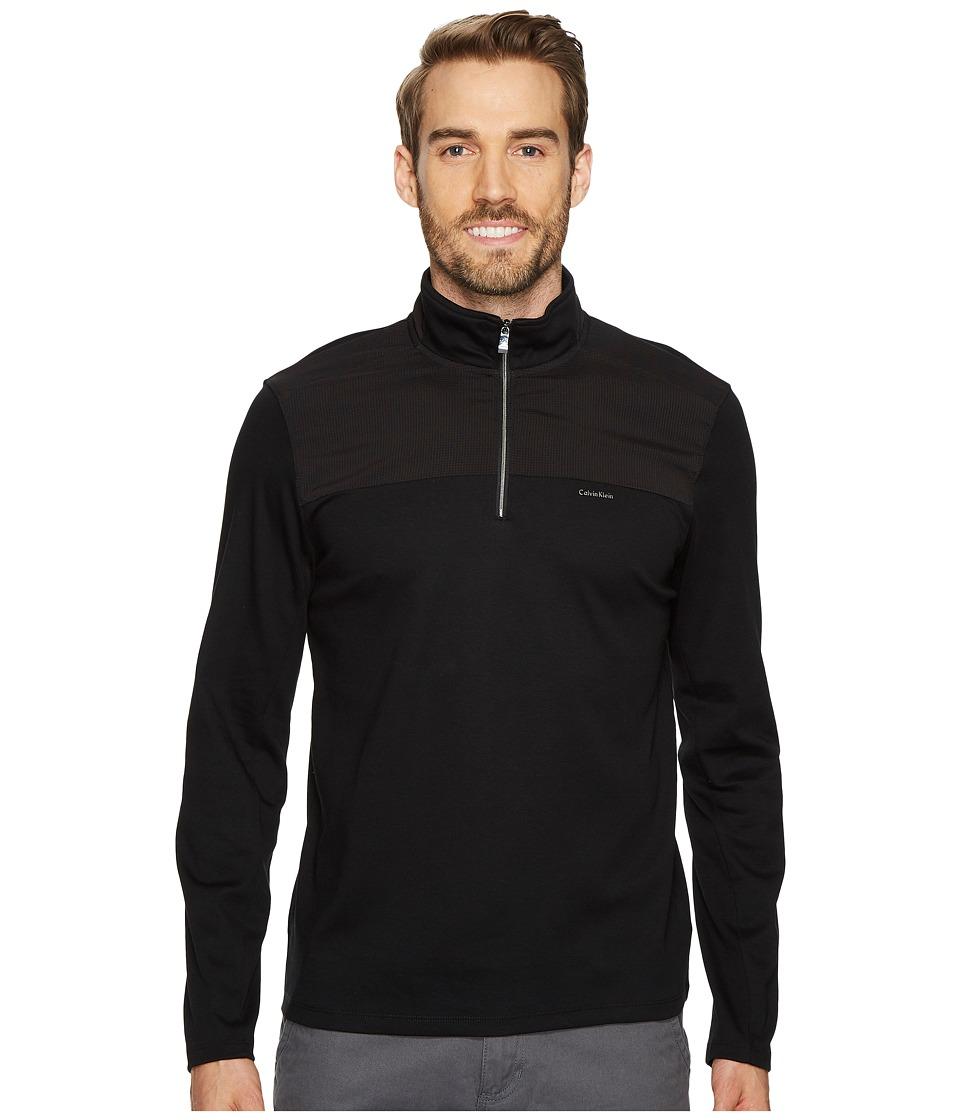 Calvin Klein Mixed Media 1/4 Zip Pullover (Black) Men