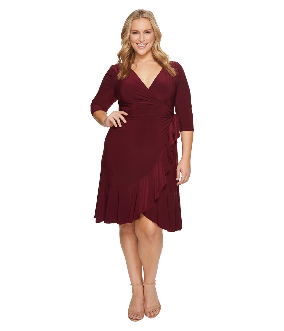 Kiyonna Whimsy Wrap Dress (Pinot Noir) Women's Dress