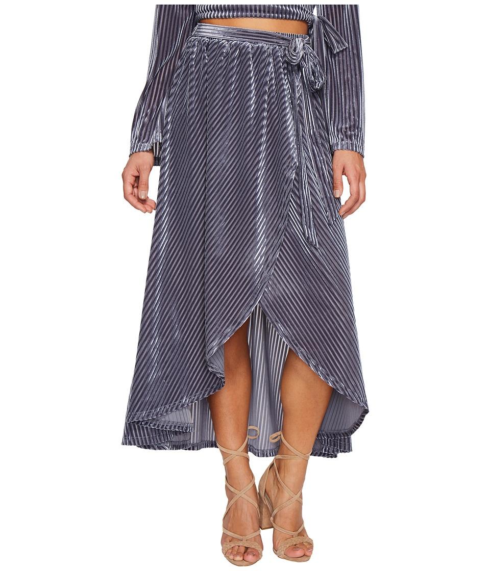 J.O.A. Tie Waist Wrap Skirt (Slate) Women
